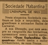 Sociedade Nabantina, Carnaval