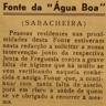 Sabacheira, fonte da Água Boa, abastecimento de água